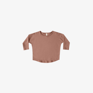 Quincy Mae Long Sleeve Baby Tee in Clay