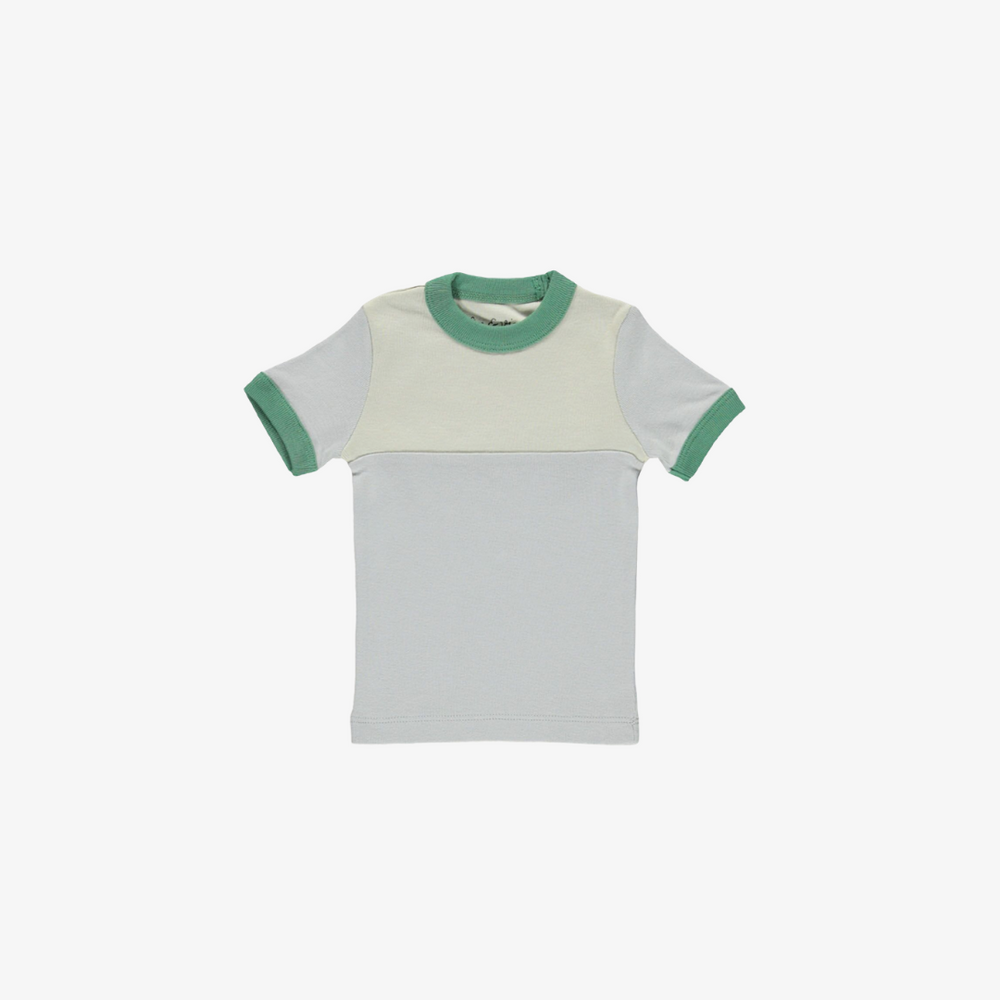 vintage tee - cloud/oatmeal/green