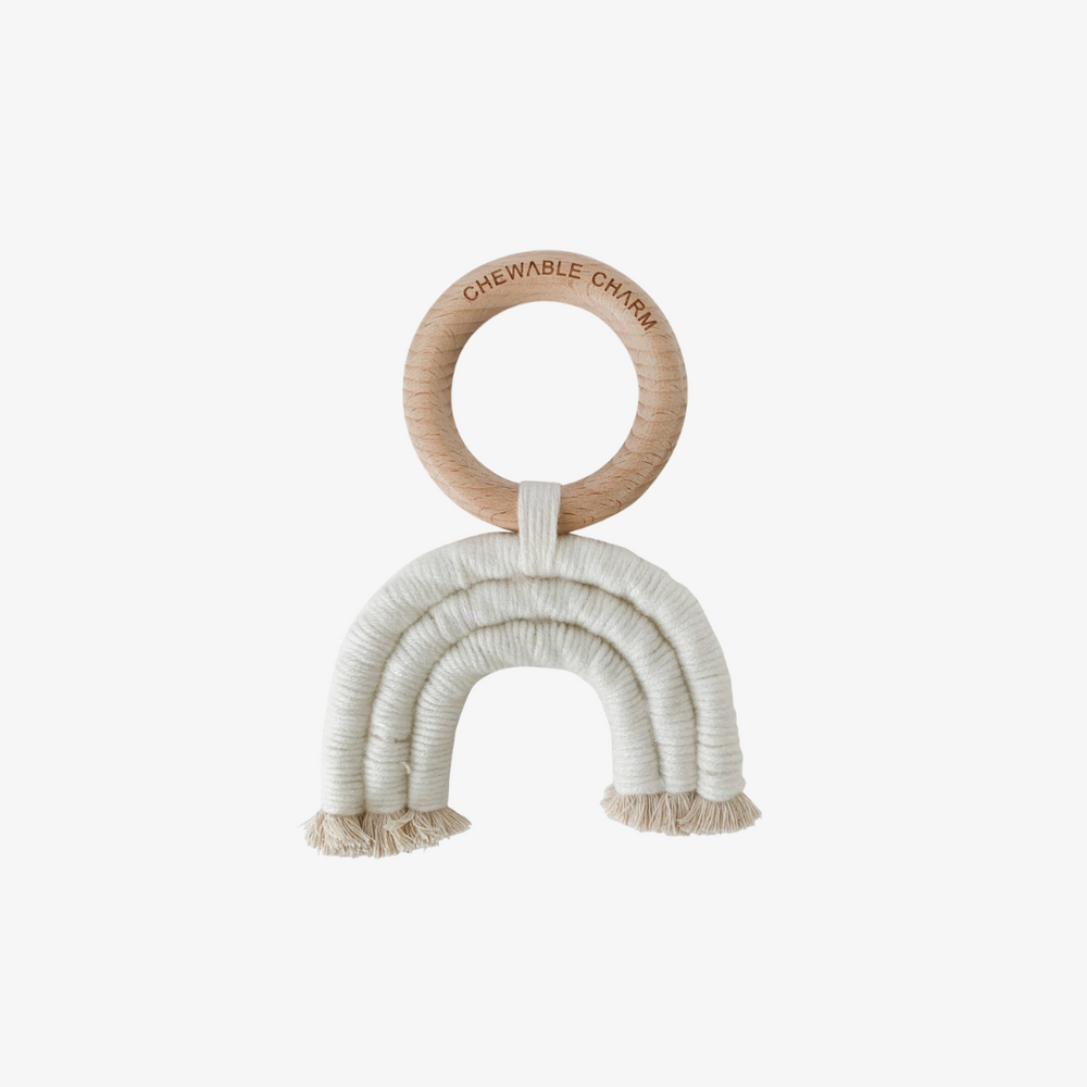 Organic Cotton and Beechwood Rainbow Teether in Cream