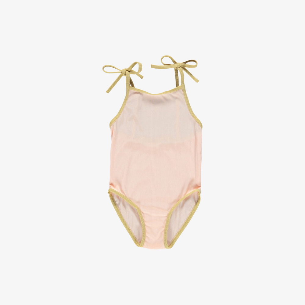 Ribbed Swimsuit in Sherbert/Mustard