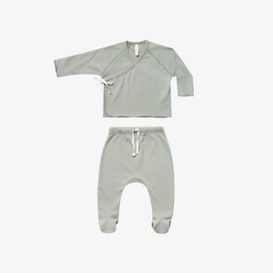 Quincy Mae Kimono Top + Footed Pant Set in Sage