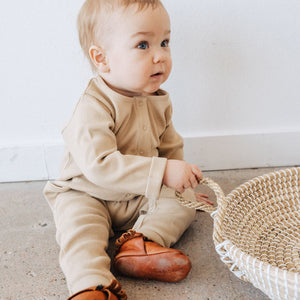 Kidwild Organic Ribbed Henly Playsuit in Oat