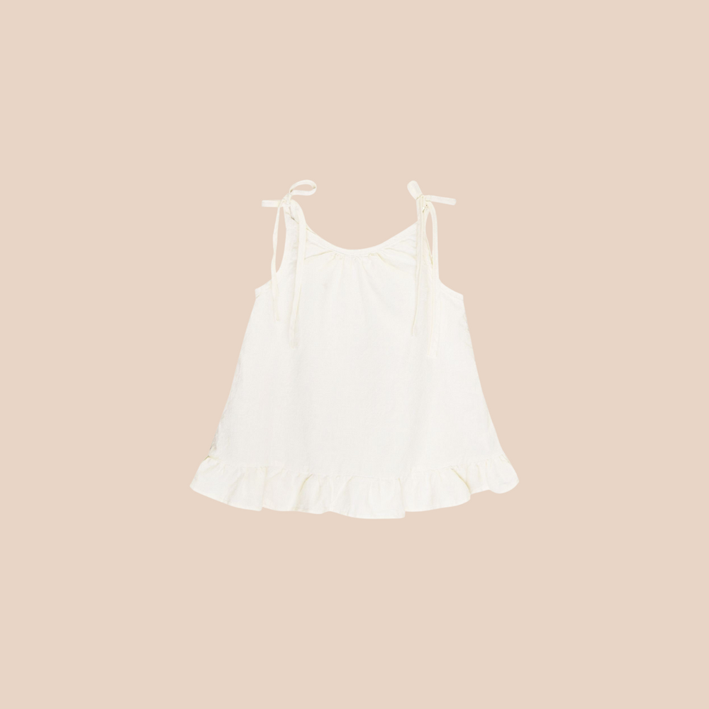 Organic Cotton Woven Ruffle Top in Natural
