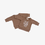 Camel Floral French Terry Crew Neck Sweatshirt
