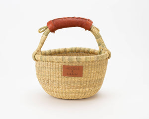 Kandiga Mini Bolga Basket - Brown Handle