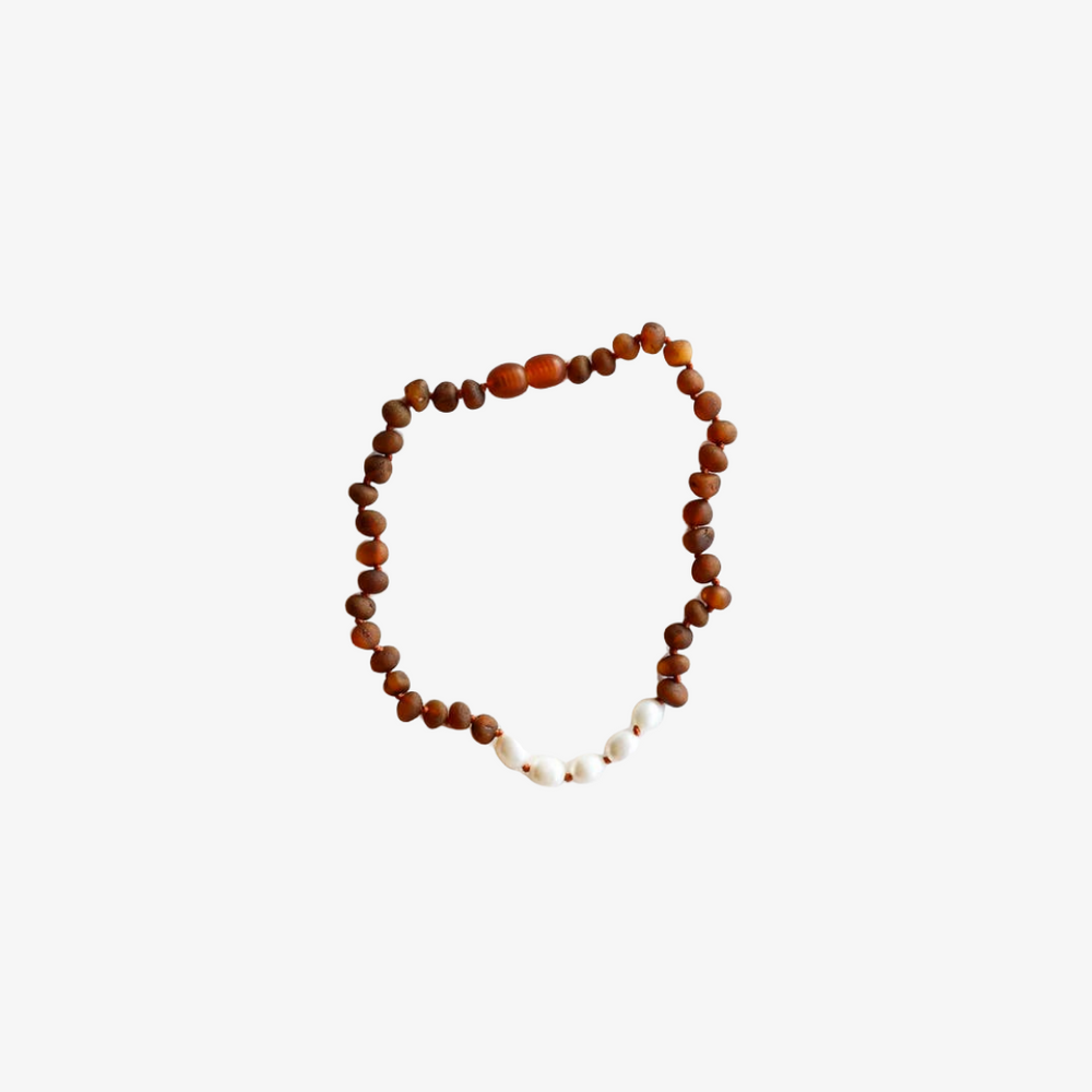 Cognac Amber + Pearls Necklace