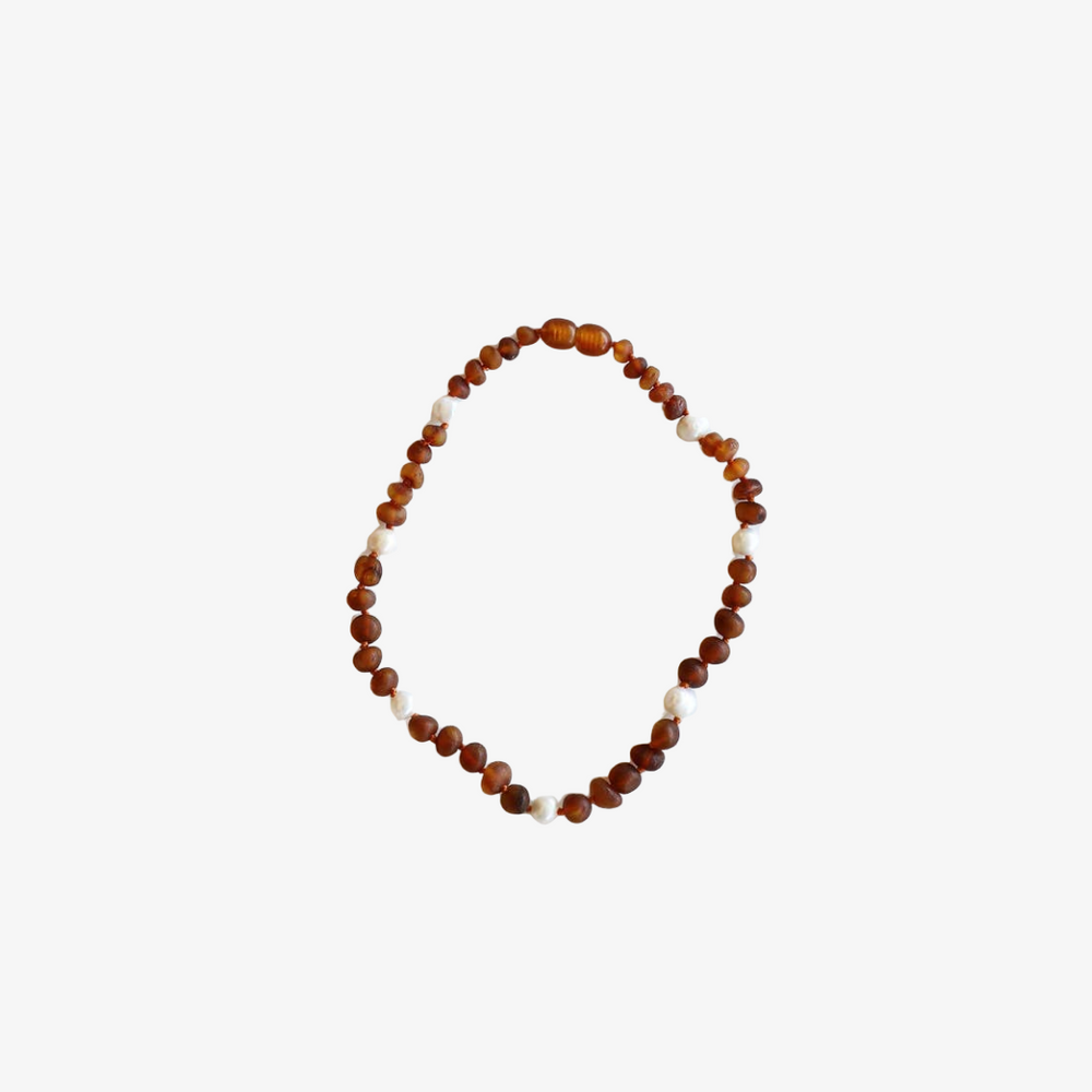 Raw Cognac Amber + Pearls Halo Necklace