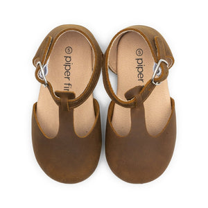 Premium Leather Hard Sole Mary Janes in Brown