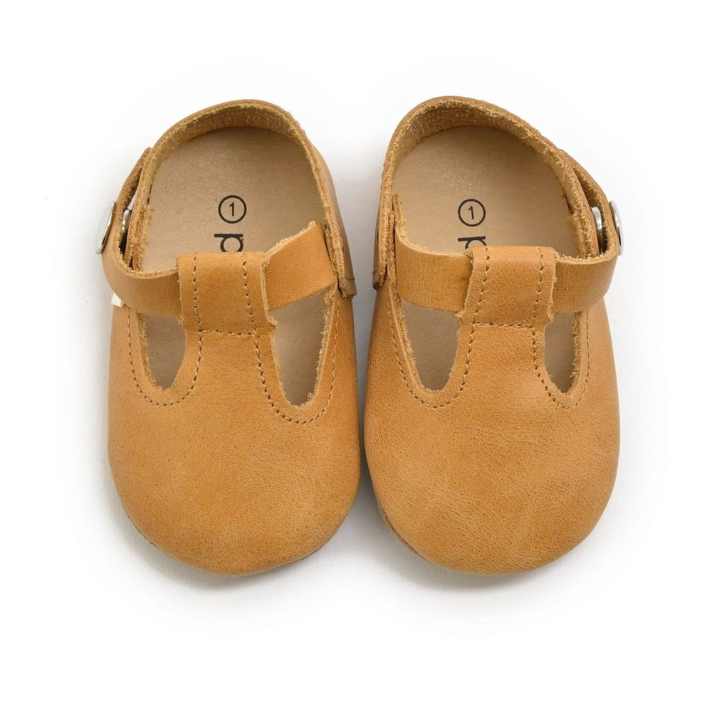 Premium Leather Soft Sole T-Strap Mary Janes in Natural