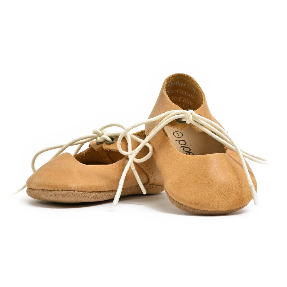Premium Leather Soft Sole Lace-Up Mary Janes in Natural