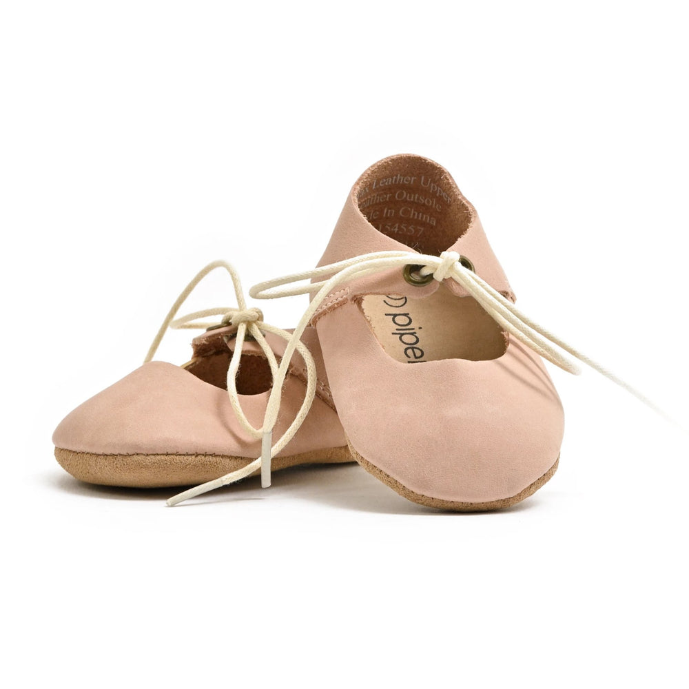 Premium Leather Soft Sole Lace-Up Mary Janes in Blush