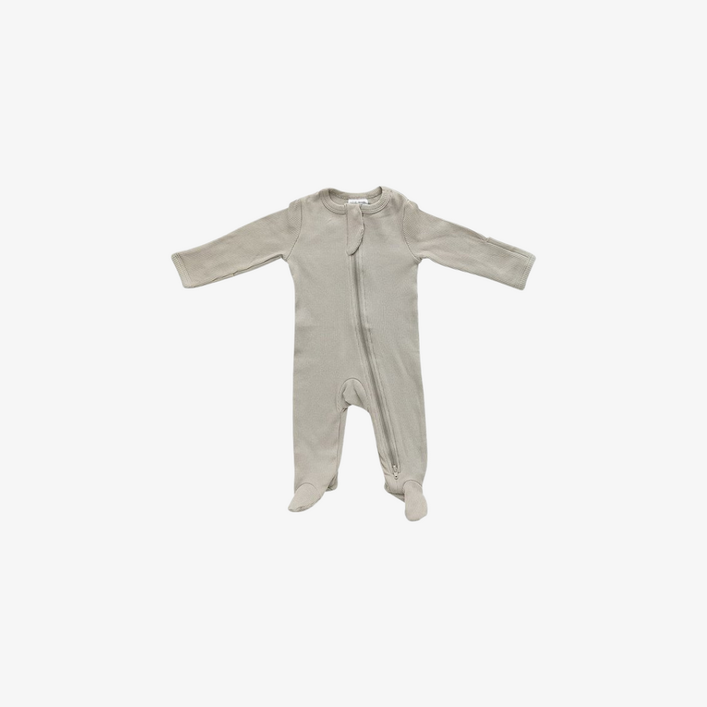 Oatmeal Organic Cotton Ribbed Footed Zipper One-piece