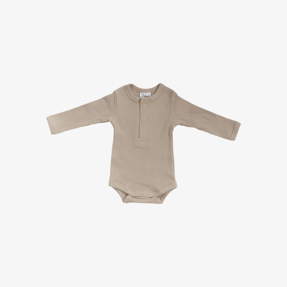 Oatmeal Organic Cotton Snap Long Sleeve Ribbed Bodysuit