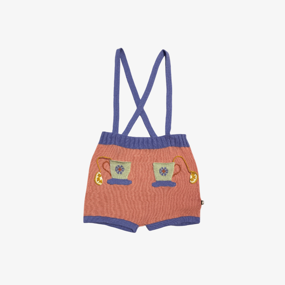 Oeuf Knit Suspender Shorts with Teacups