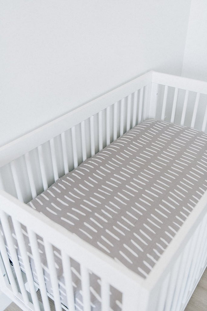 Muslin Grey Dash Crib Sheet