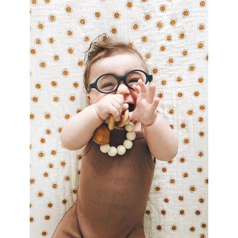Hayes Slicone + Wood Teether Ring - Cream
