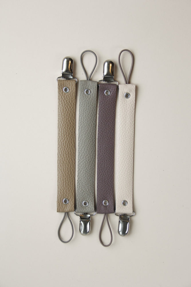 Leather Pacifier Clip - Plum