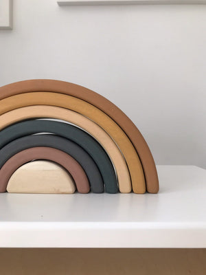 Sabo Wooden Stacking Rainbow in Mustard