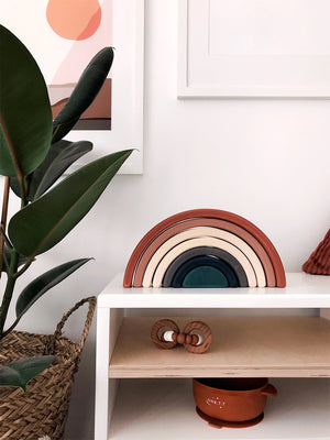 Sabo Wooden Stacking Rainbow in Terracotta