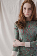 Women's Ribbed Henley in Jardin
