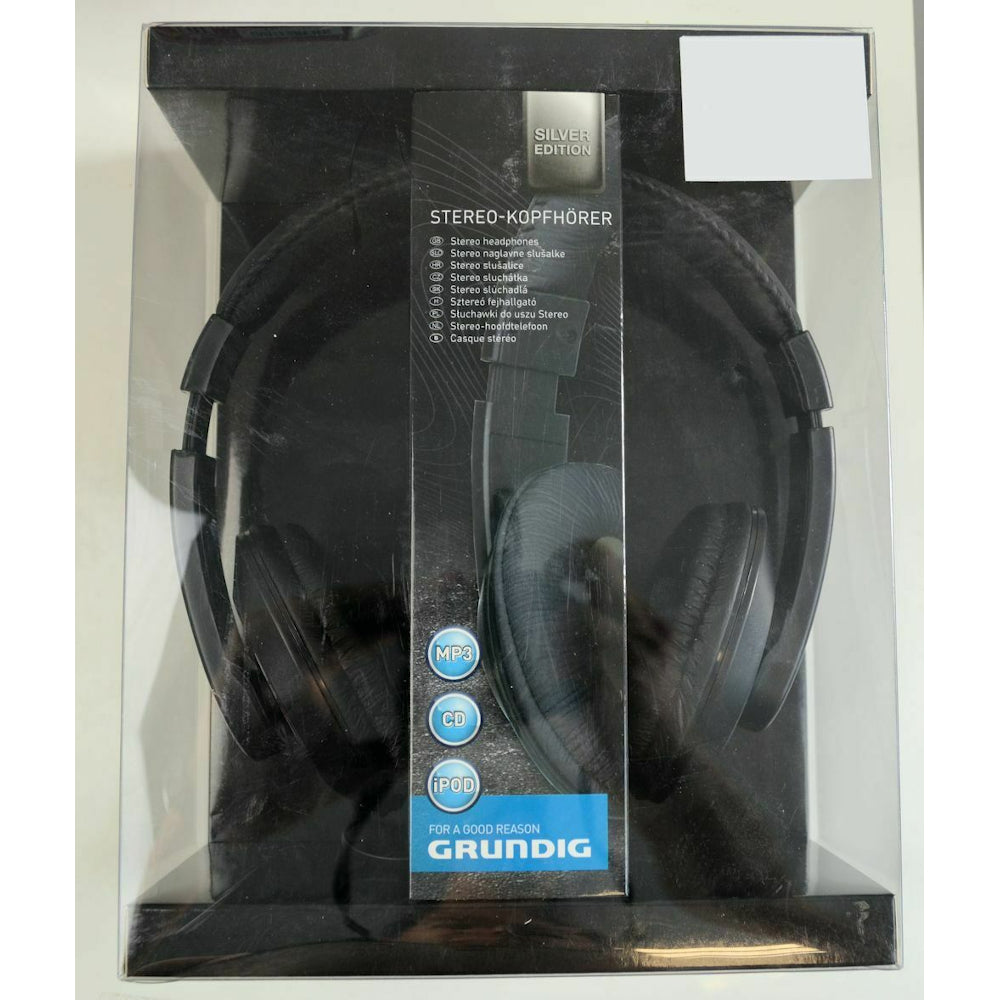Grundig Silver Edition Headphones BLACK NIB 1.2m Cable