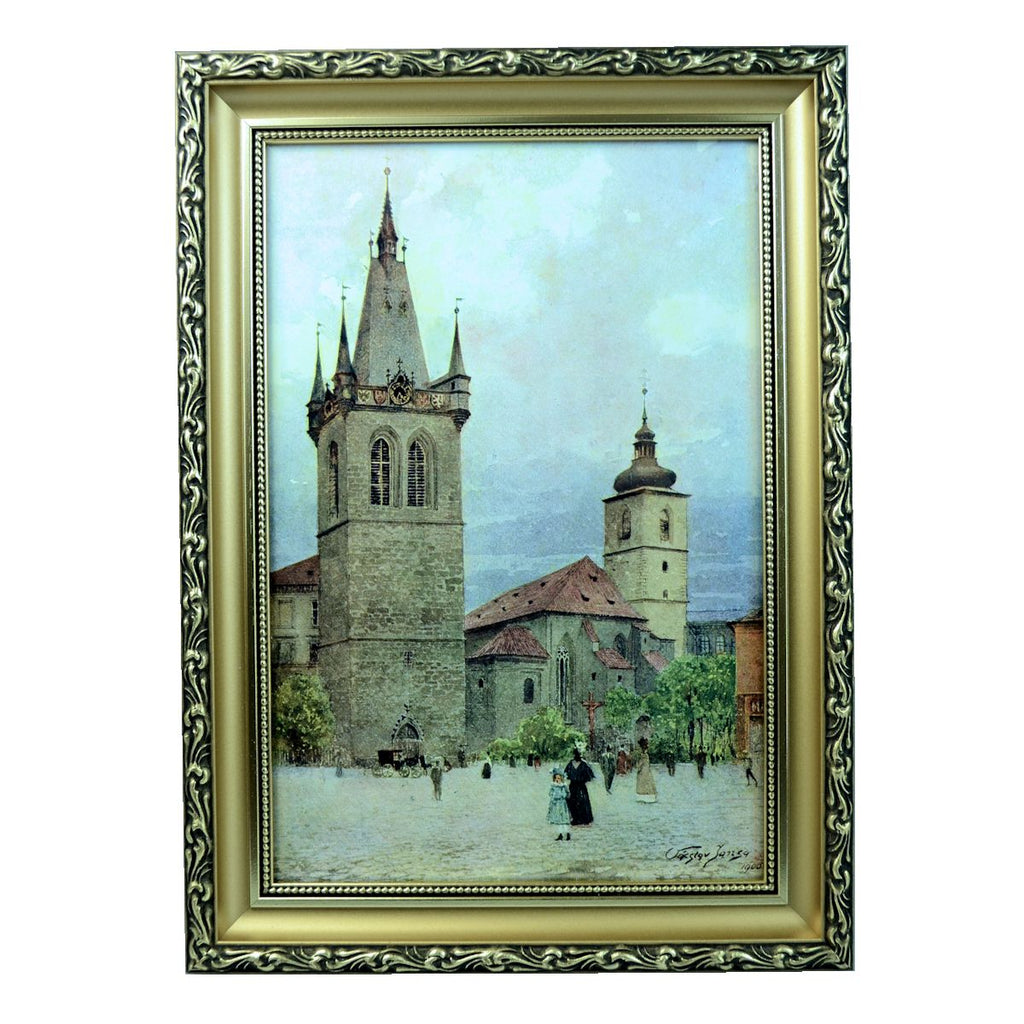 V. Jansa (Czech) Print Photo-Chromotype Old Prague St. Henry Signed Framed Vintage 1900-1910