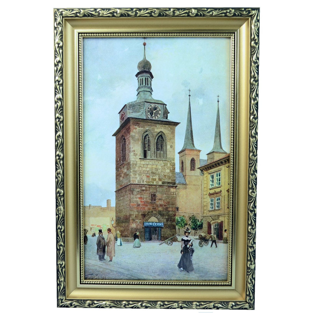 V. Jansa Czech Print Photo-Chromotype Old Prague St. Peter Signed Framed Vintage