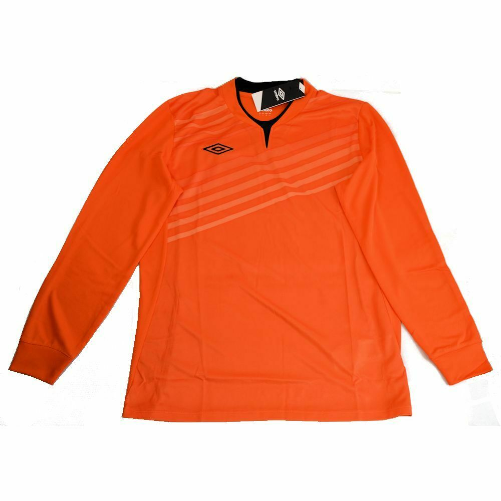 Umbro Men Football Soccer Long Sleeve Jersey Shirt Golden Poppy XL NEW