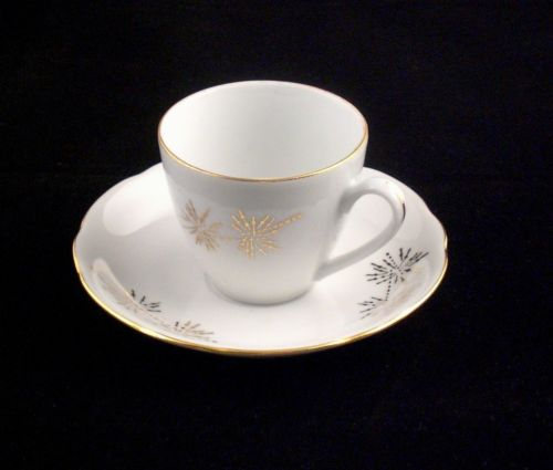Vintage BOHEMIA Ceramic Works China Porcelain Gold Trim Cup & Saucer 1922-1945