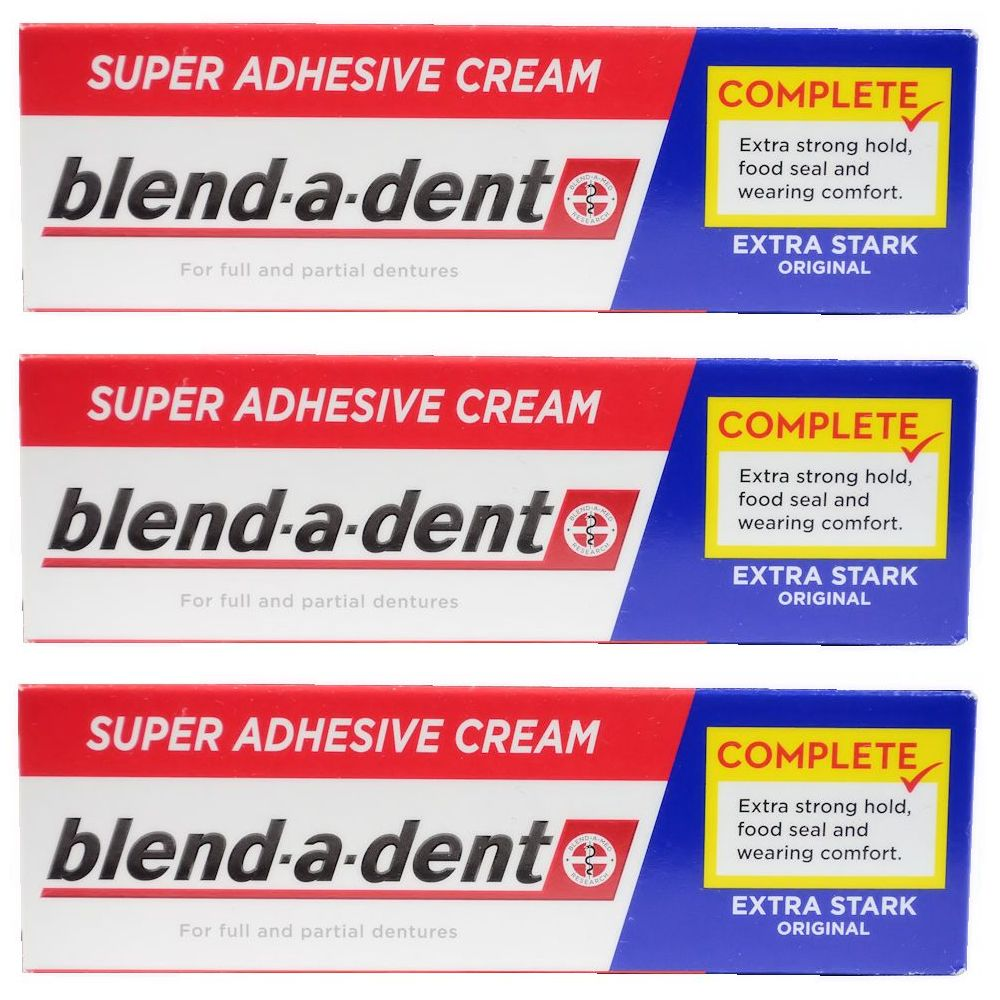 German blend-a-dent Denture Adhesive Cream Extra Stark ORIGINAL 47g (3 PACK)