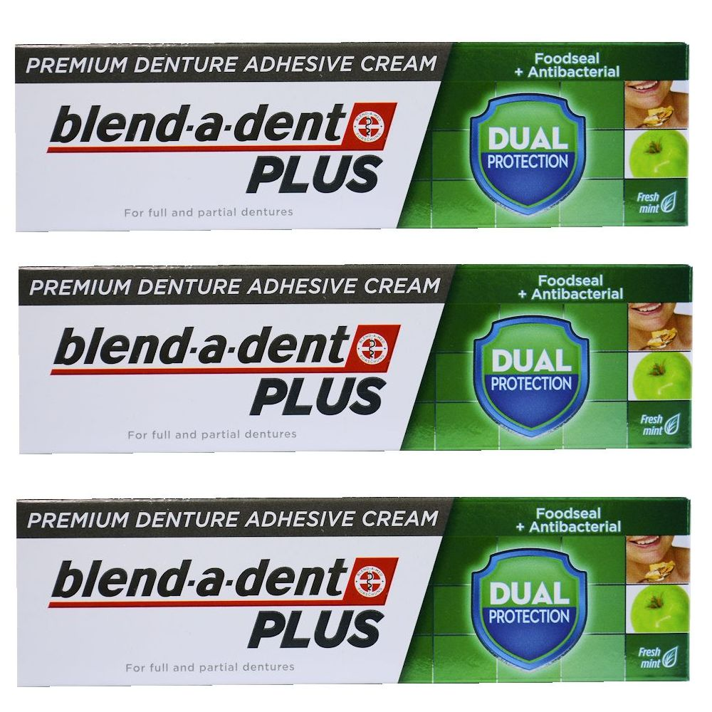 German blend-a-dent PLUS Denture Adhesive Cream DUAL PROTECTION 40g (3 PACK)