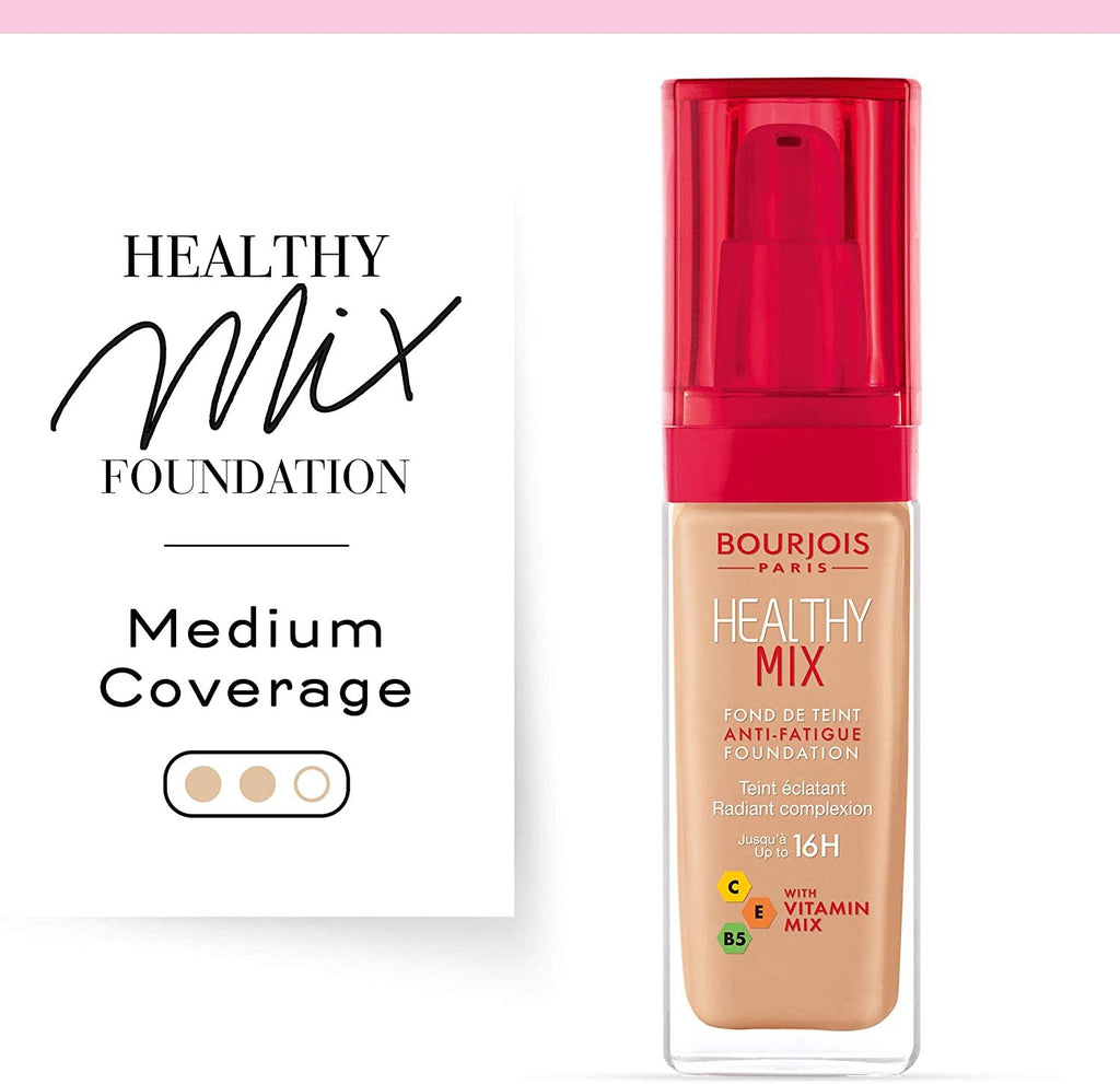 Bourjois Healthy Mix Anti-Fatigue Medium Coverage Liquid Foundation 55 Dark Beige, 30ml