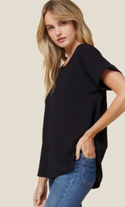 Black Rolled Sleeve Top