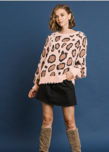 Light Pink Fuzzy Animal Print Sweater
