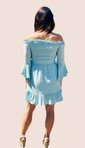 Mint Off-Shoulder Smocked Dress {S/M/L}
