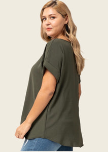 Olive Rolled Sleeve Top