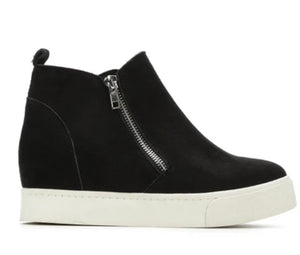 Classic Black Wedge Sneakers