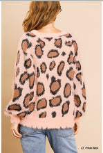 Load image into Gallery viewer, Light Pink Fuzzy Animal Print Sweater
