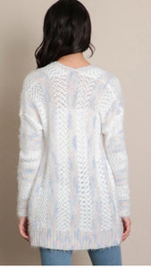 Baby Blue Stripe Pocket Cardigan