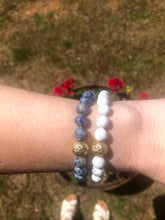 Load image into Gallery viewer, Stone Stretch Bracelet {white/blue}
