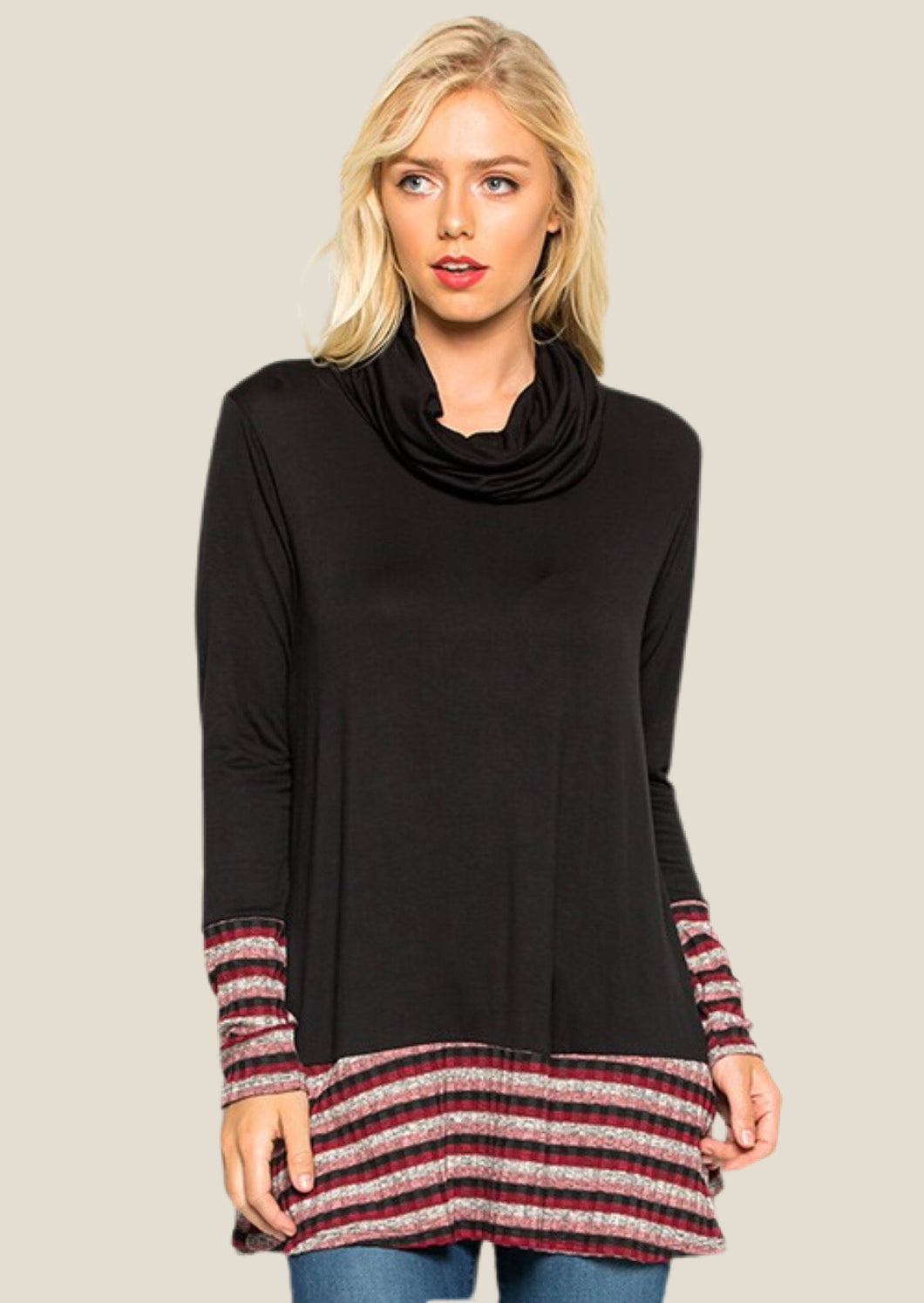 Stripe Trim Tunic ( 60% OFF )