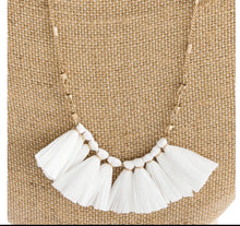 Load image into Gallery viewer, White Raffia Tassel Necklace
