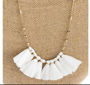 White Raffia Tassel Necklace