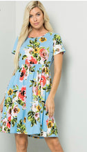 Load image into Gallery viewer, Sky Blue Floral Swing Dress {S/M/L}