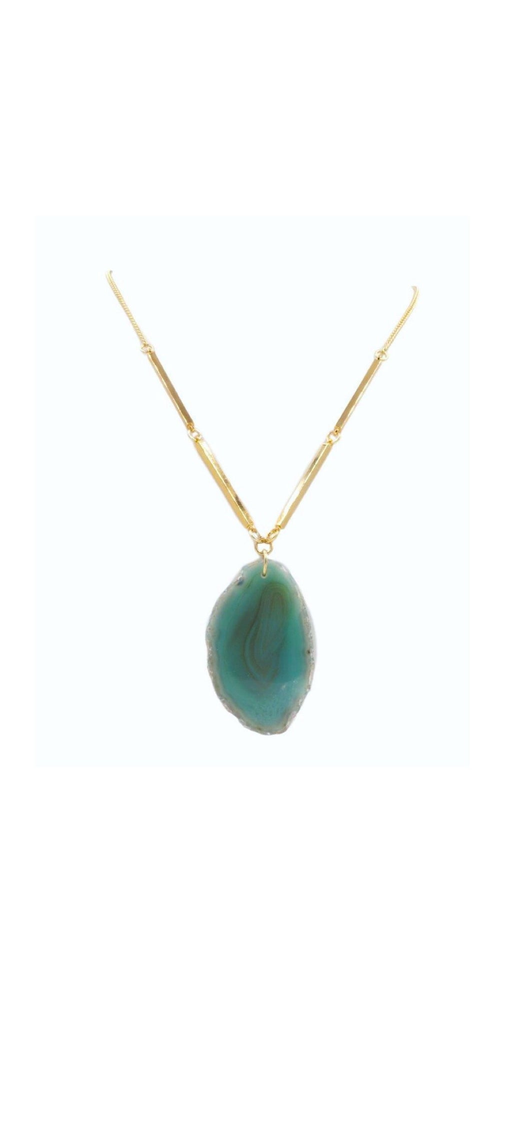 K.A. Rigid Agate Stone Necklace {Jade/Purple} 50% OFF