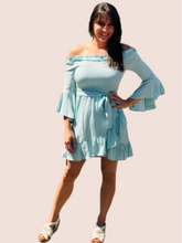 Load image into Gallery viewer, Mint Off-Shoulder Smocked Dress {S/M/L}