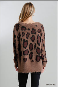 Mocha Distressed Hem Leopard Print Sweater