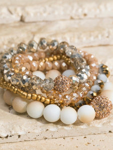 Nude Pave Ball and Glass Bead Bracelet Set