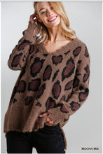 Load image into Gallery viewer, Mocha Distressed Hem Leopard Print Sweater