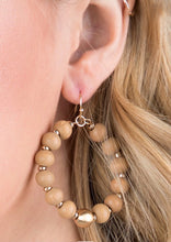 Load image into Gallery viewer, Wooden Bead Dangle Earrings